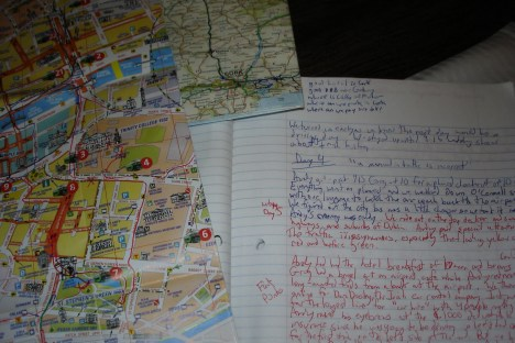 Notebook and maps made use of during our travels