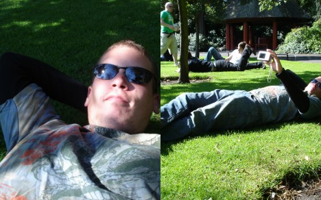 Two views of Andy relaxing on St. Stephen's Green